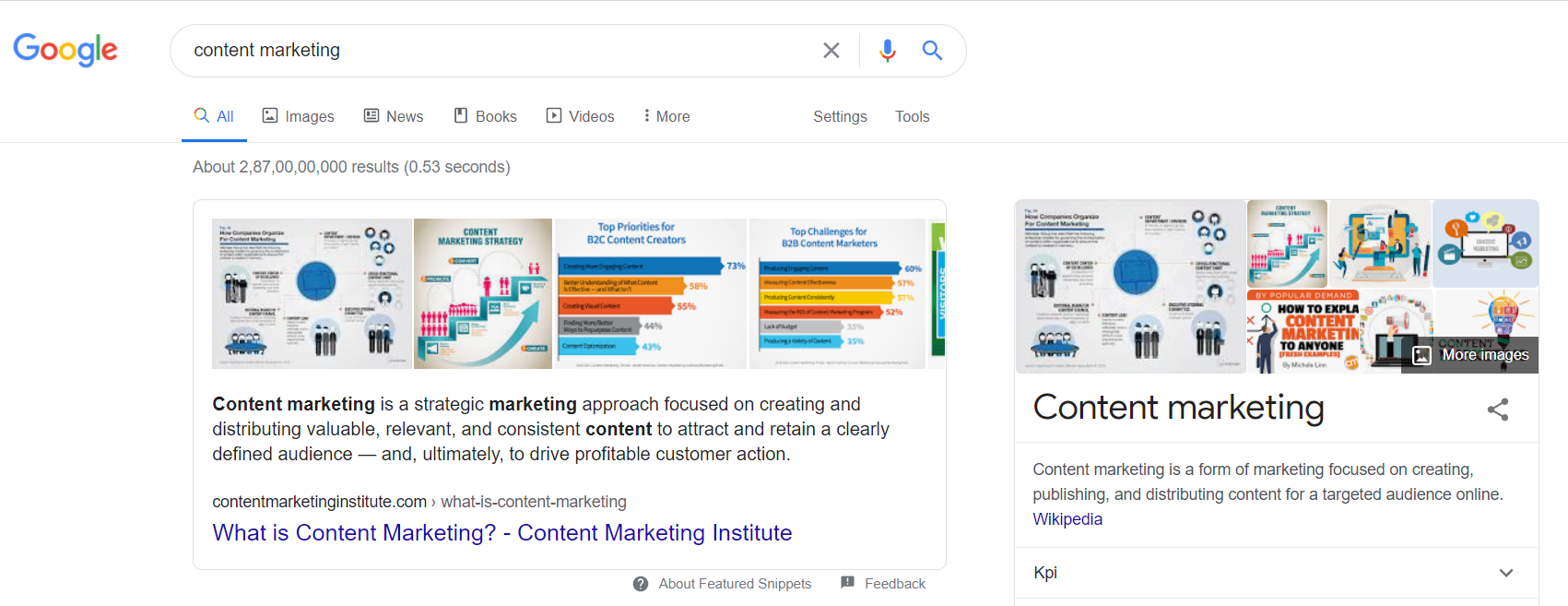 Image shows an example of a featured snippet in Google's search results