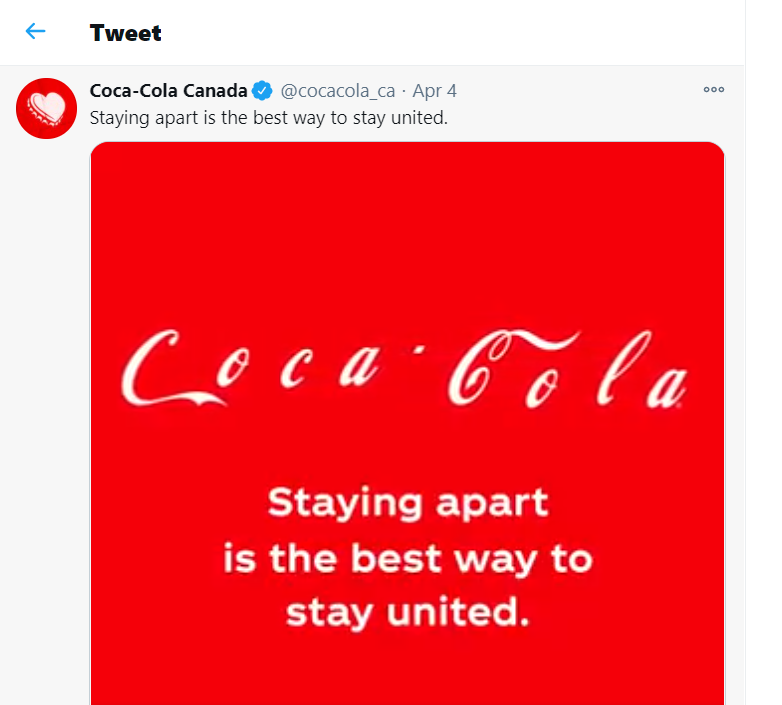 Image is an ad posted on Coca Cola Canada's Twitter page encouraging social distancing during Covid-19