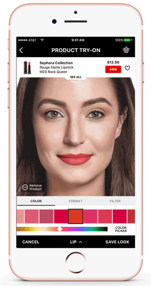 Image shows a screenshot of the Augmented Reality tool available on beauty brand Sephora's mobile app